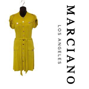 Marciano Chartreuse Button Front Jersey Dress- Sm